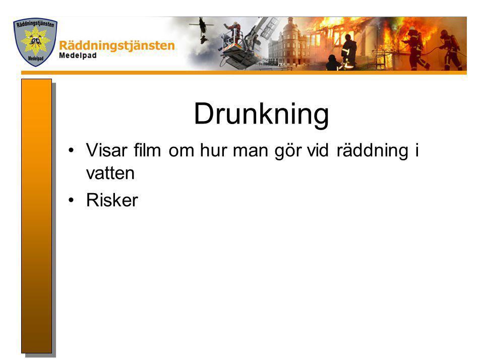 Drunkning Visar film om hur man gör vid räddning i vatten Risker