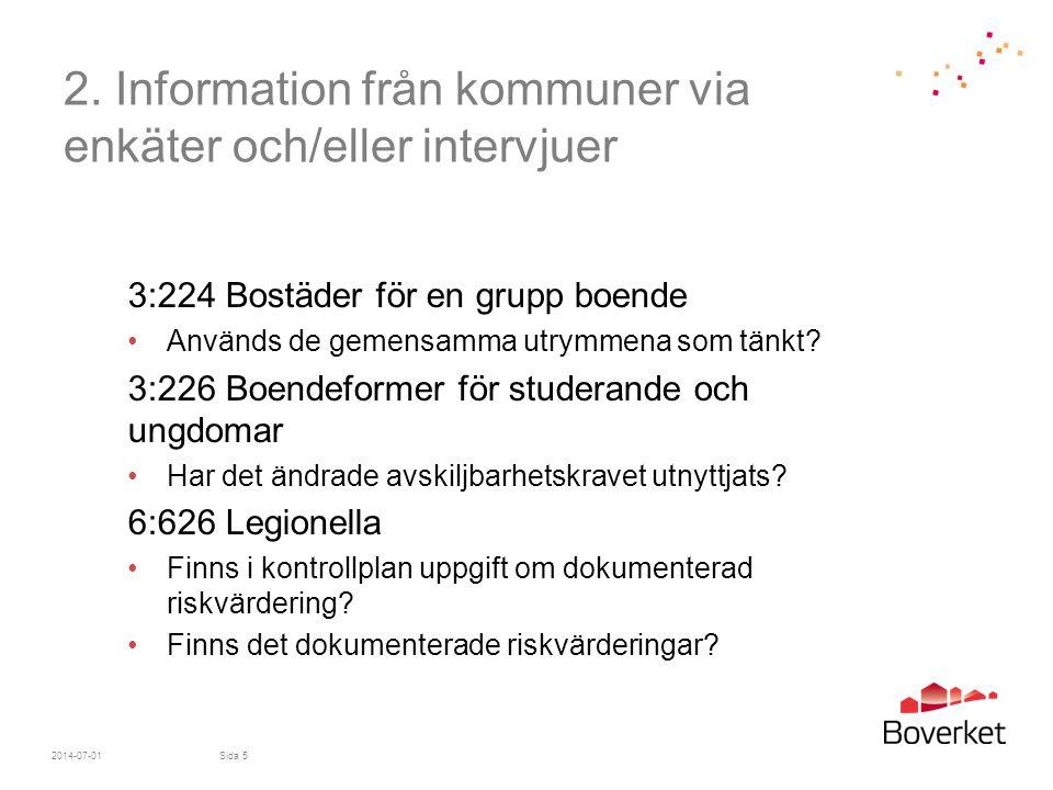 2. Information från kommuner via enkäter och/eller intervjuer
