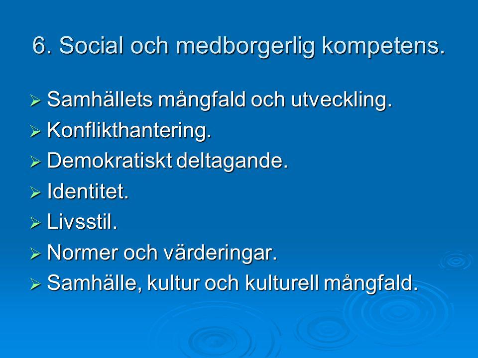 6. Social och medborgerlig kompetens.