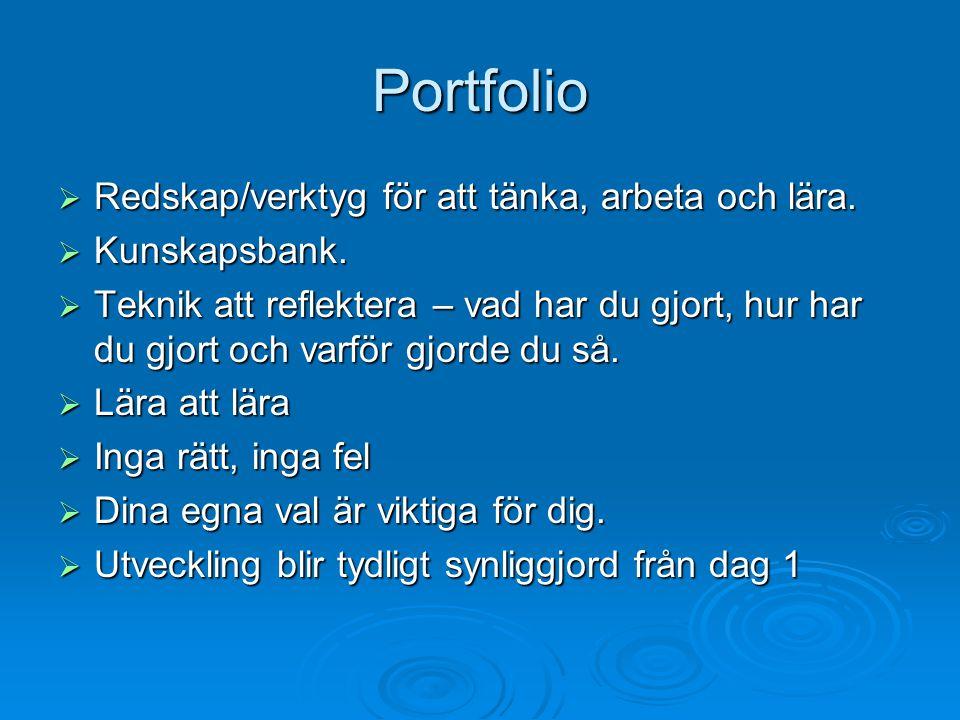 Portfolio Redskap/verktyg för att tänka, arbeta och lära.