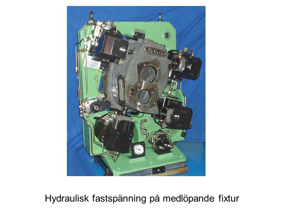 Hydraulisk fastspänning på medlöpande fixtur