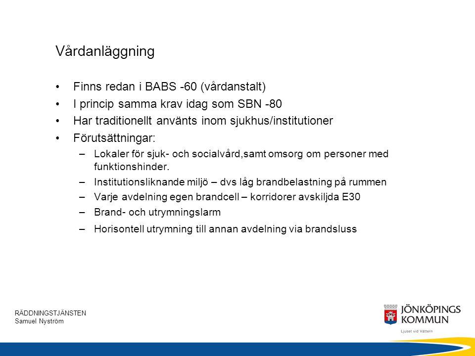 Vårdanläggning Finns redan i BABS -60 (vårdanstalt)