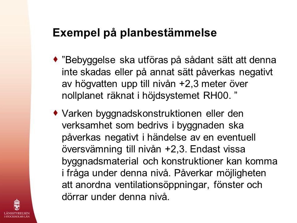 Exempel på planbestämmelse