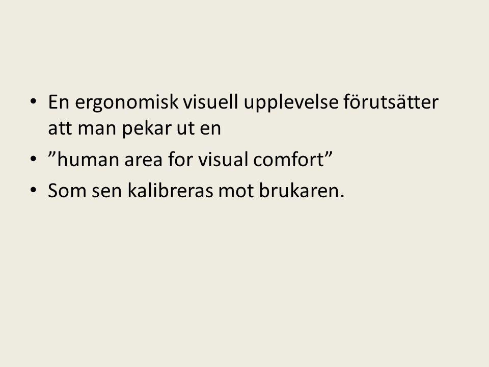 En ergonomisk visuell upplevelse förutsätter att man pekar ut en