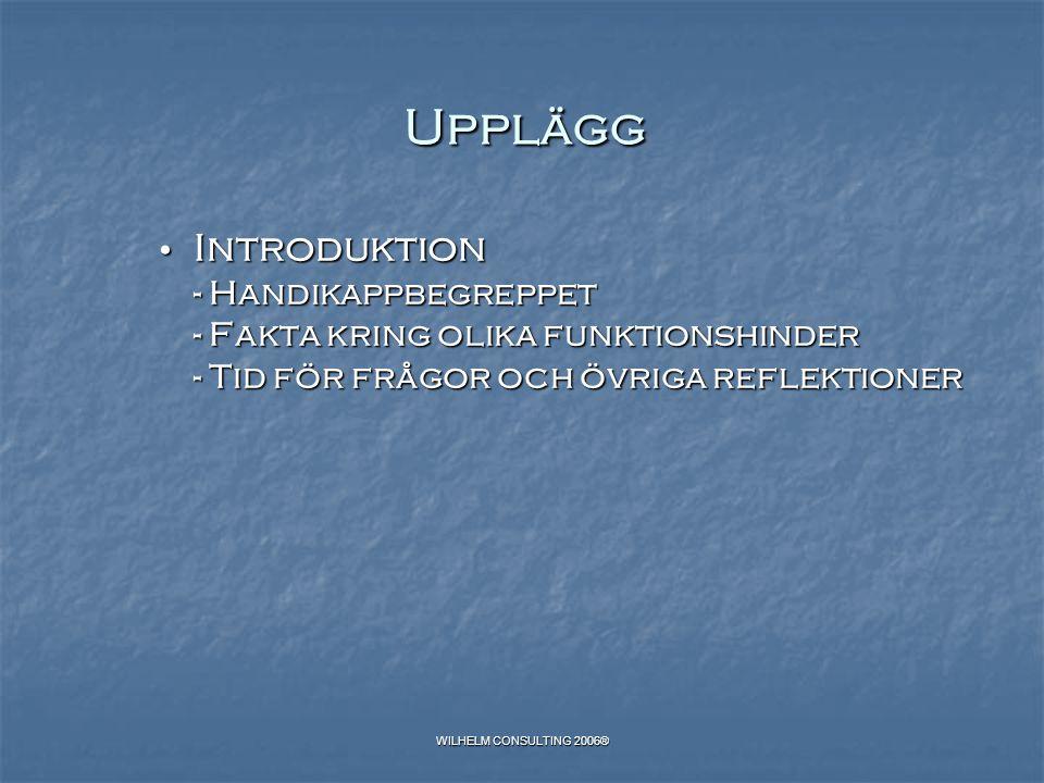Upplägg Introduktion - Handikappbegreppet