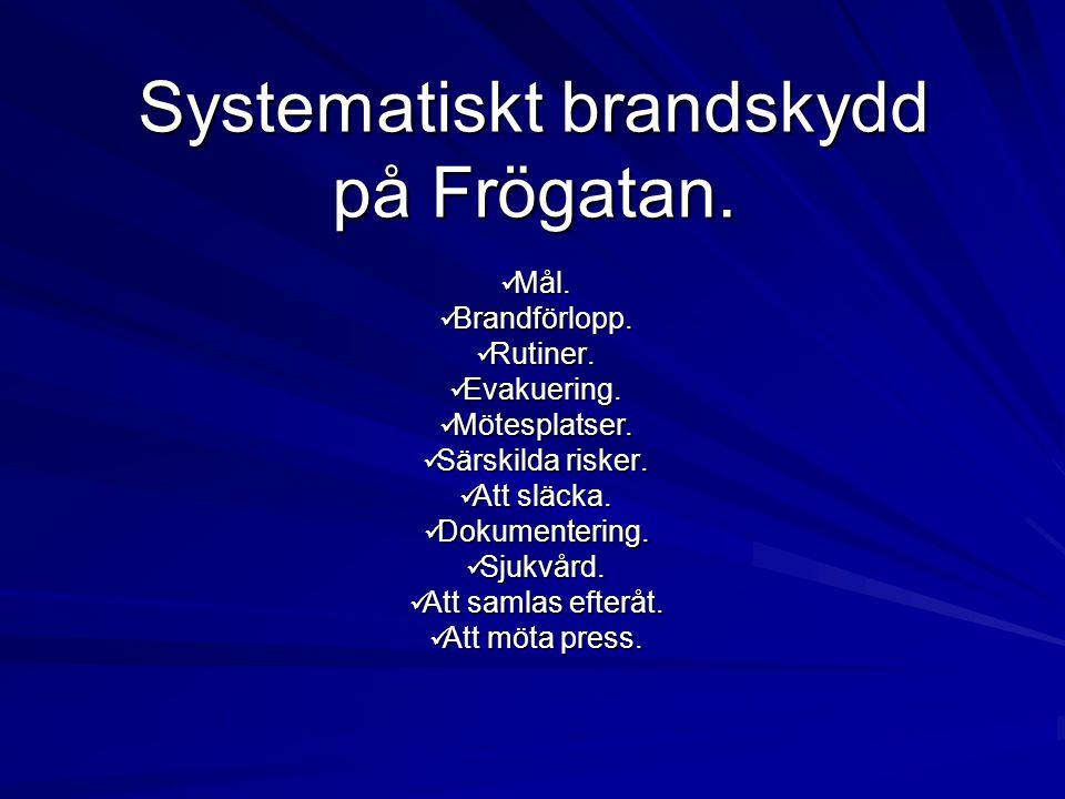 Systematiskt brandskydd på Frögatan.