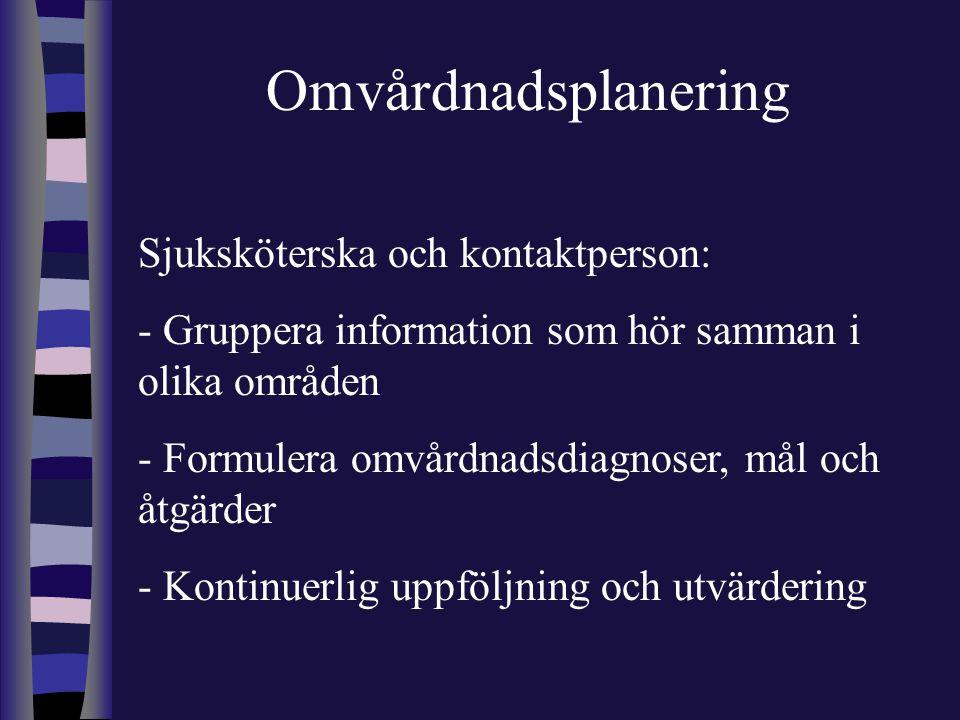 Omvårdnadsplanering Sjuksköterska och kontaktperson: