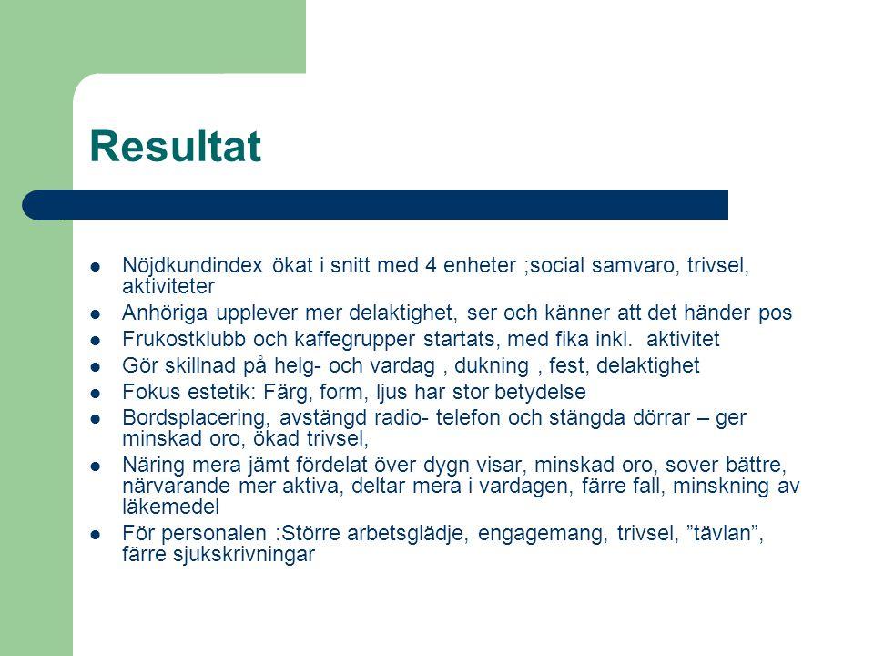 Resultat Nöjdkundindex ökat i snitt med 4 enheter ;social samvaro, trivsel, aktiviteter.
