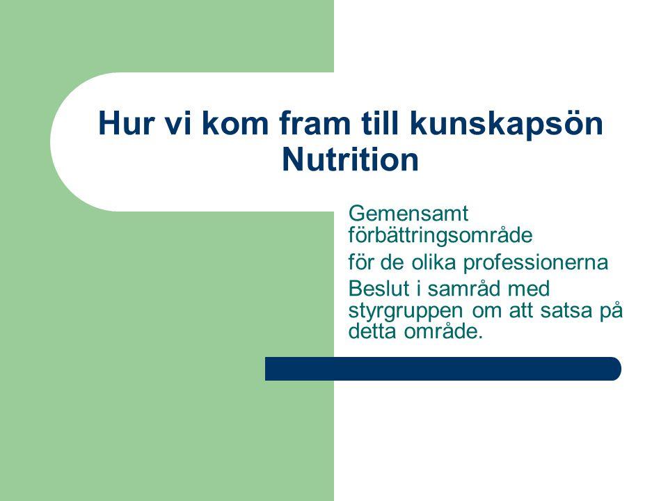 Hur vi kom fram till kunskapsön Nutrition