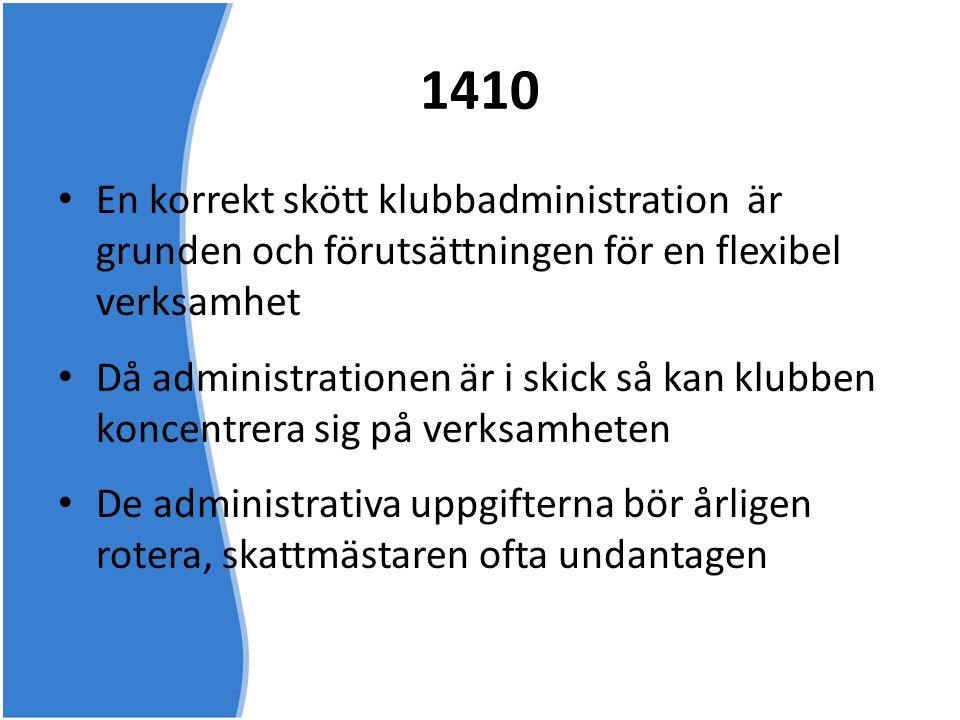 1410 En korrekt skött klubbadministration är grunden och förutsättningen för en flexibel verksamhet.