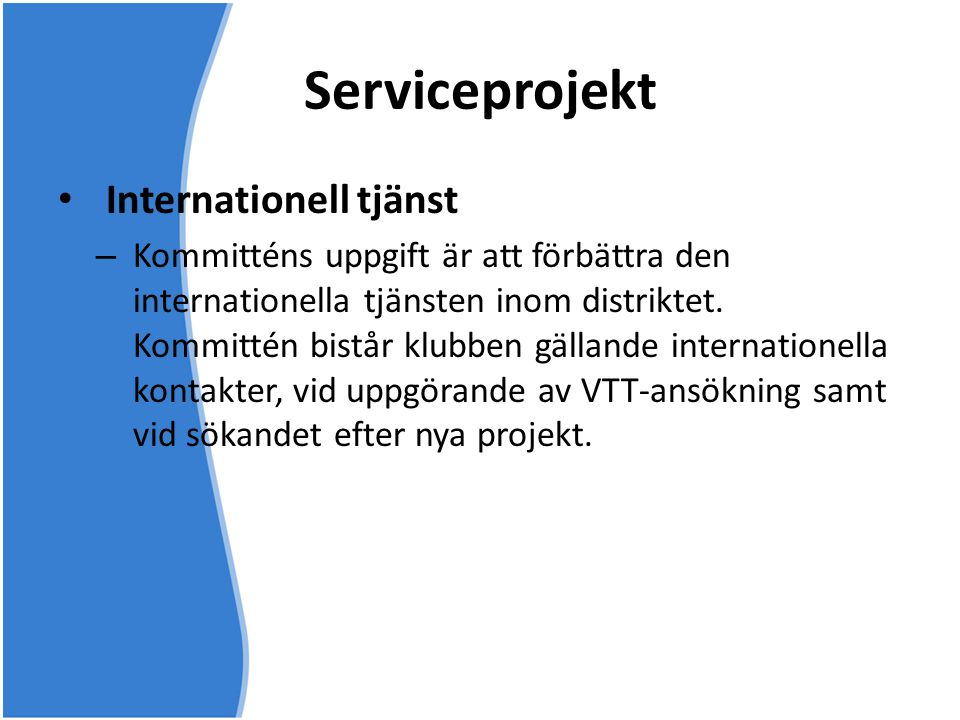 Serviceprojekt Internationell tjänst
