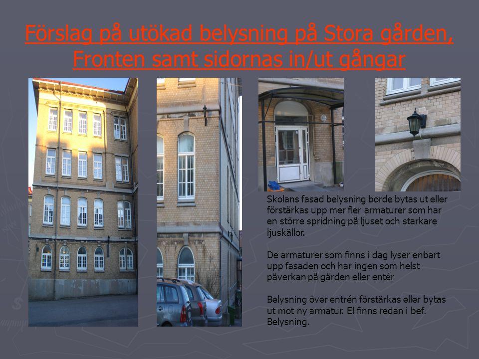 Förslag på utökad belysning på Stora gården, Fronten samt sidornas in/ut gångar