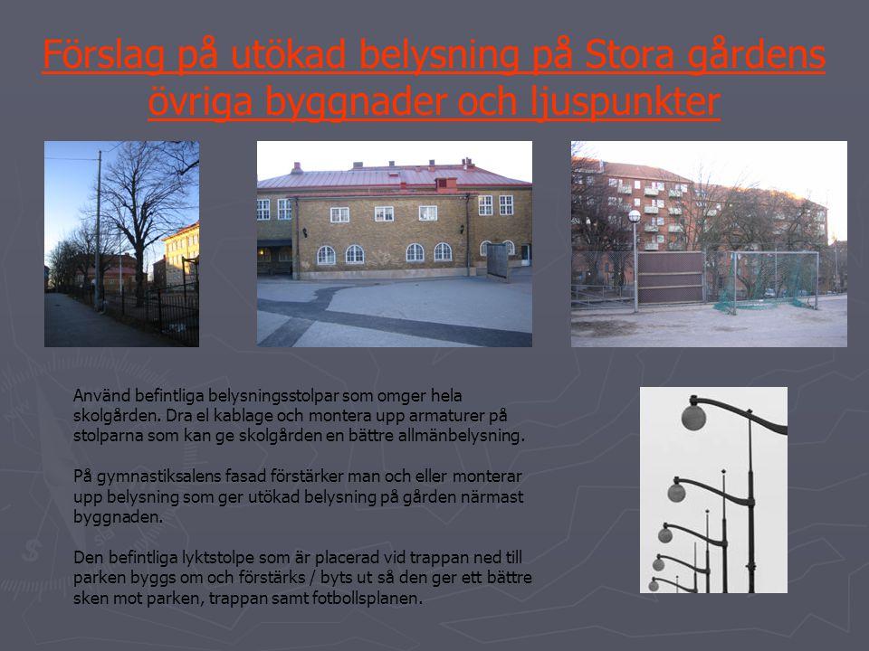 Förslag på utökad belysning på Stora gårdens övriga byggnader och ljuspunkter