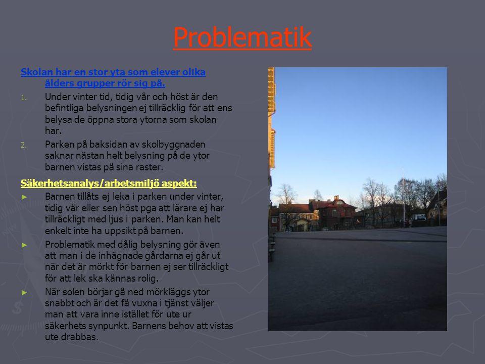Problematik Skolan har en stor yta som elever olika ålders grupper rör sig på.