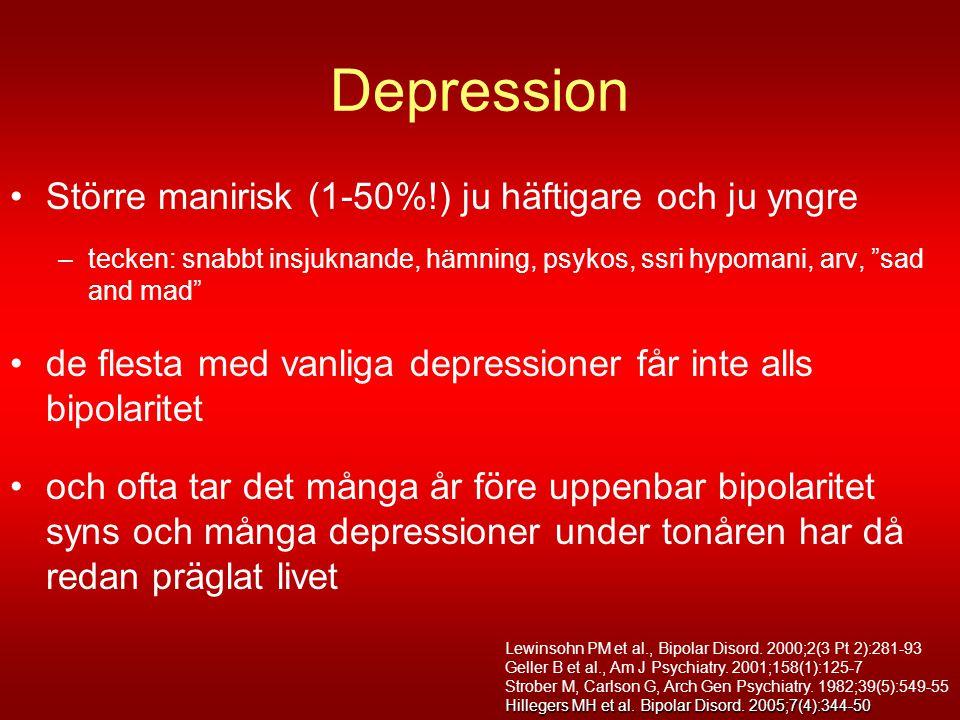 Depression Större manirisk (1-50%!) ju häftigare och ju yngre