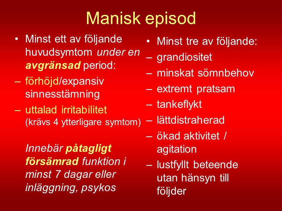 Manisk episod Minst ett av följande huvudsymtom under en avgränsad period: förhöjd/expansiv sinnesstämning.