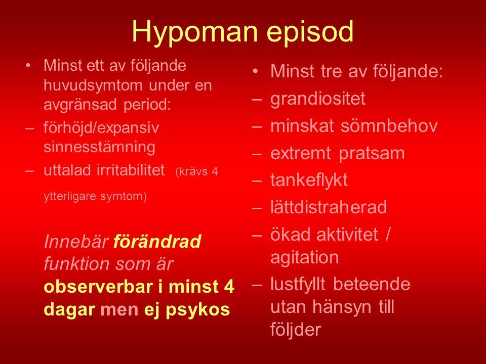 Hypoman episod Minst tre av följande: grandiositet minskat sömnbehov