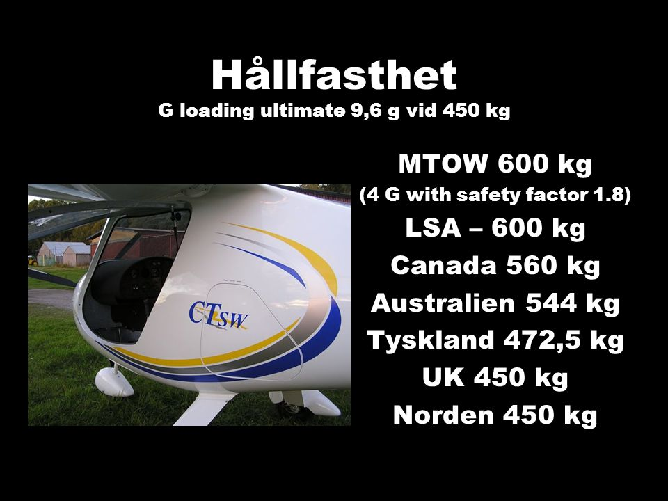 Hållfasthet G loading ultimate 9,6 g vid 450 kg