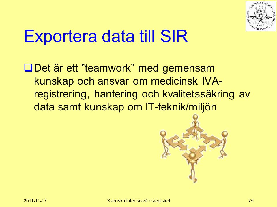 Exportera data till SIR