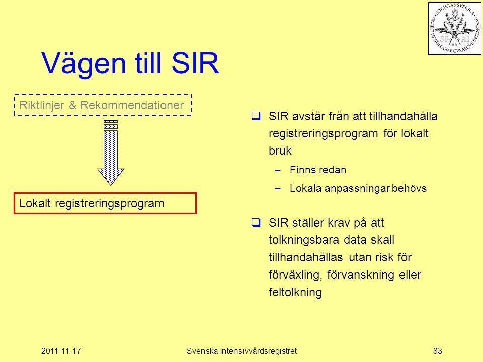 SIR - Intensivvårdsregistrering.