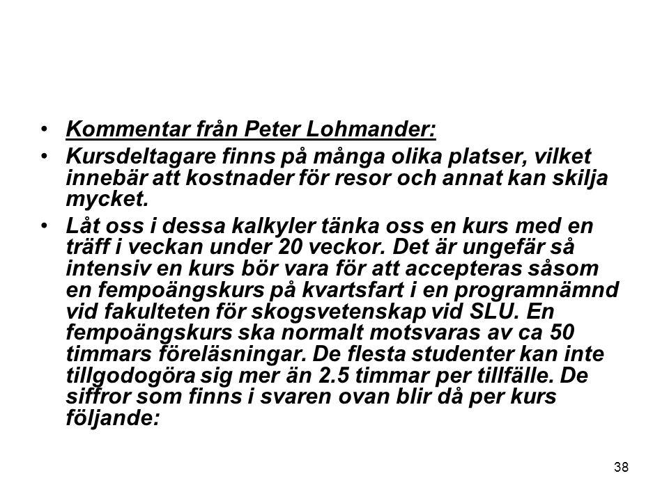 Kommentar från Peter Lohmander: