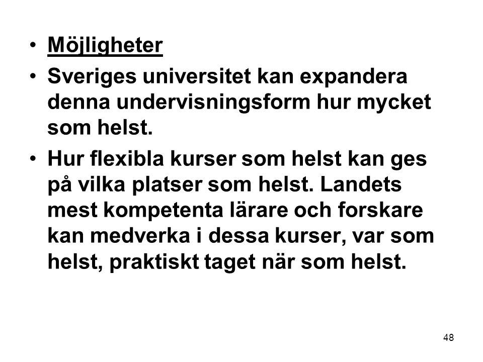 Möjligheter Sveriges universitet kan expandera denna undervisningsform hur mycket som helst.