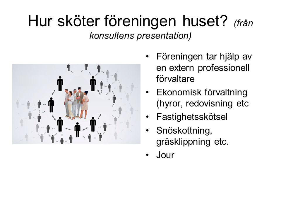 Hur sköter föreningen huset (från konsultens presentation)