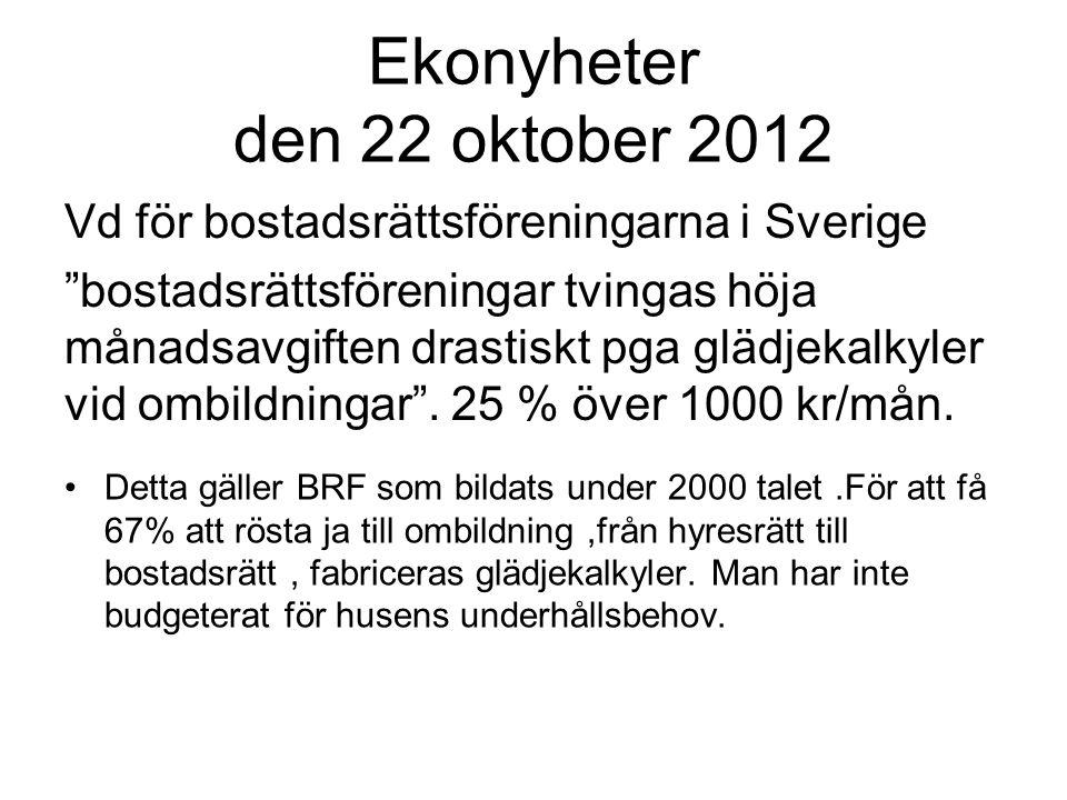 Ekonyheter den 22 oktober 2012