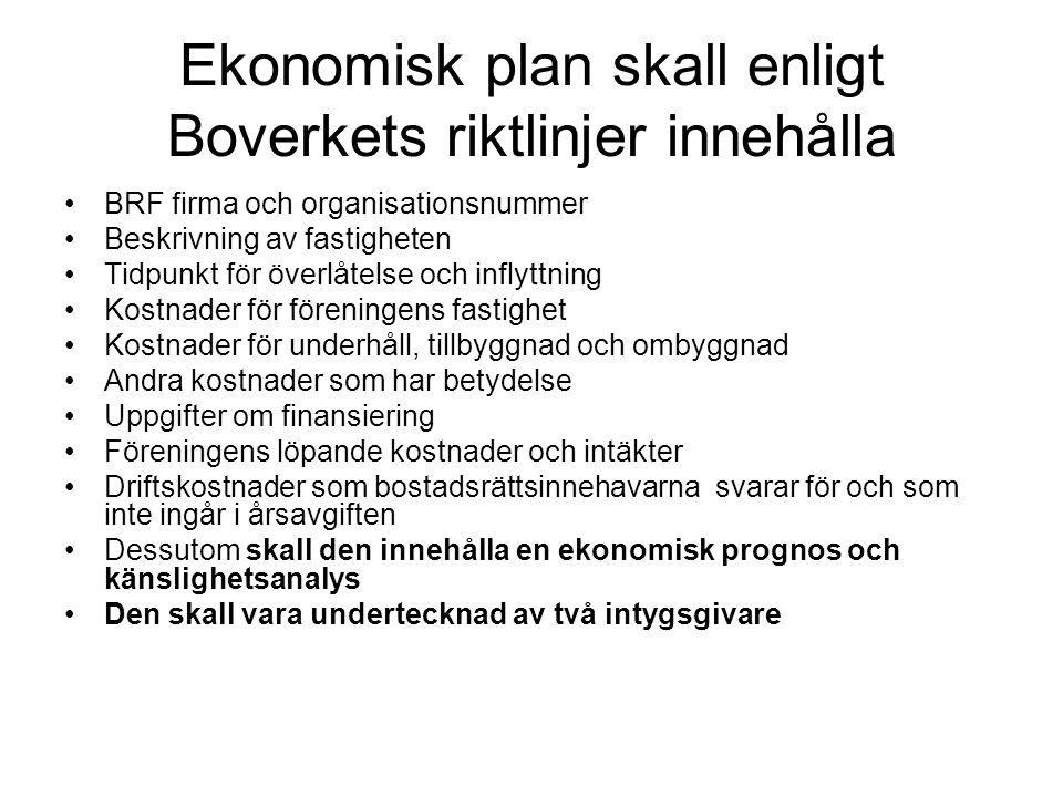 Ekonomisk plan skall enligt Boverkets riktlinjer innehålla