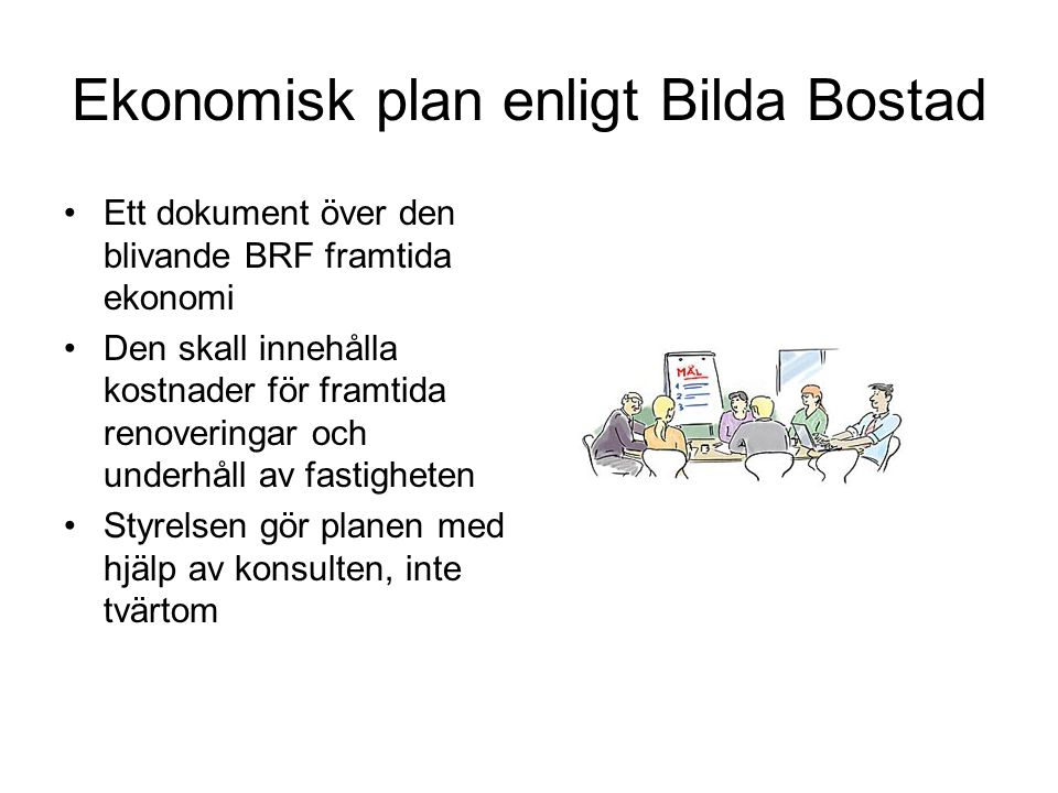 Ekonomisk plan enligt Bilda Bostad