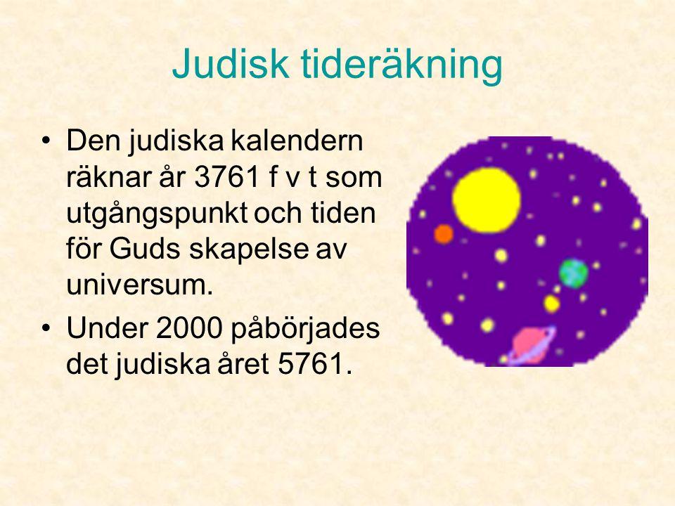 Judisk tideräkning Den judiska kalendern räknar år 3761 f v t som utgångspunkt och tiden för Guds skapelse av universum.