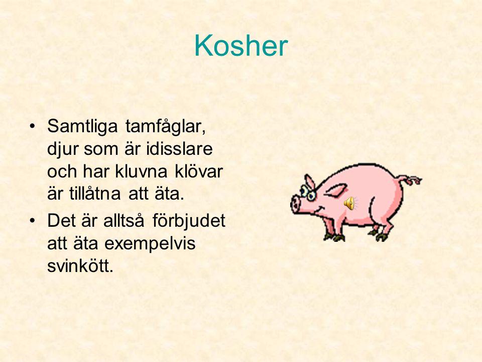 Kosher Samtliga tamfåglar, djur som är idisslare och har kluvna klövar är tillåtna att äta.