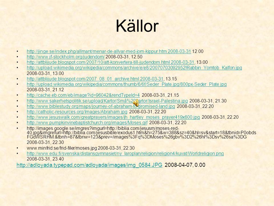 Källor http://jinge.se/index.php/allmant/menar-de-allvar-med-jom-kippur.htm 2008-03-31 12.00.