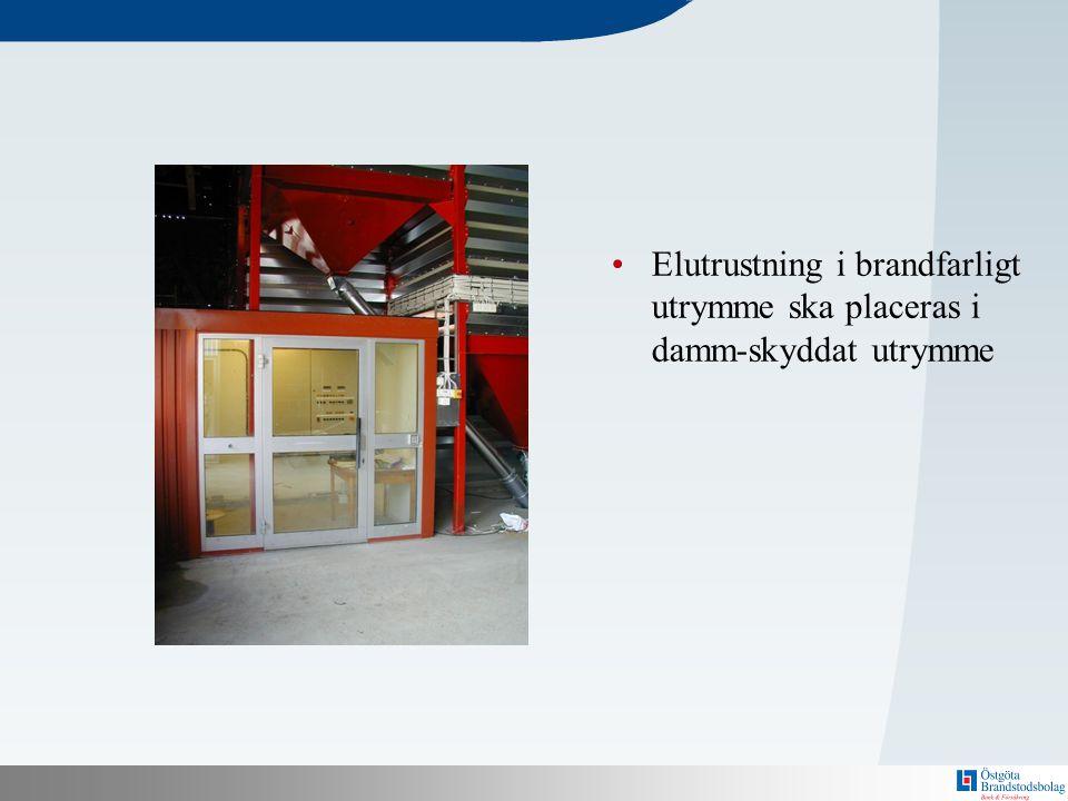 Elutrustning i brandfarligt utrymme ska placeras i damm-skyddat utrymme