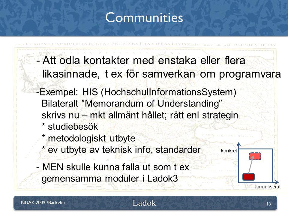 Communities Att odla kontakter med enstaka eller flera likasinnade, t ex för samverkan om programvara.