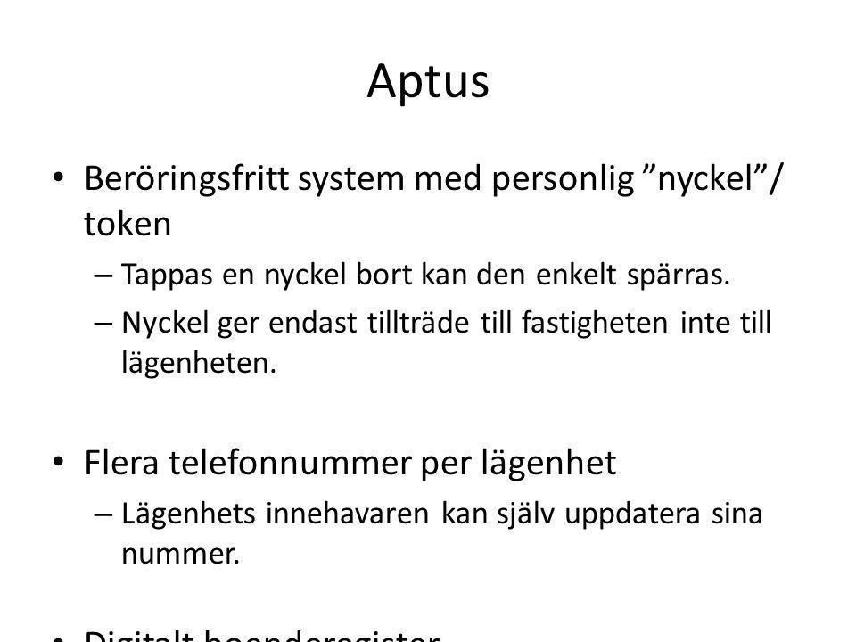 Aptus Beröringsfritt system med personlig nyckel / token