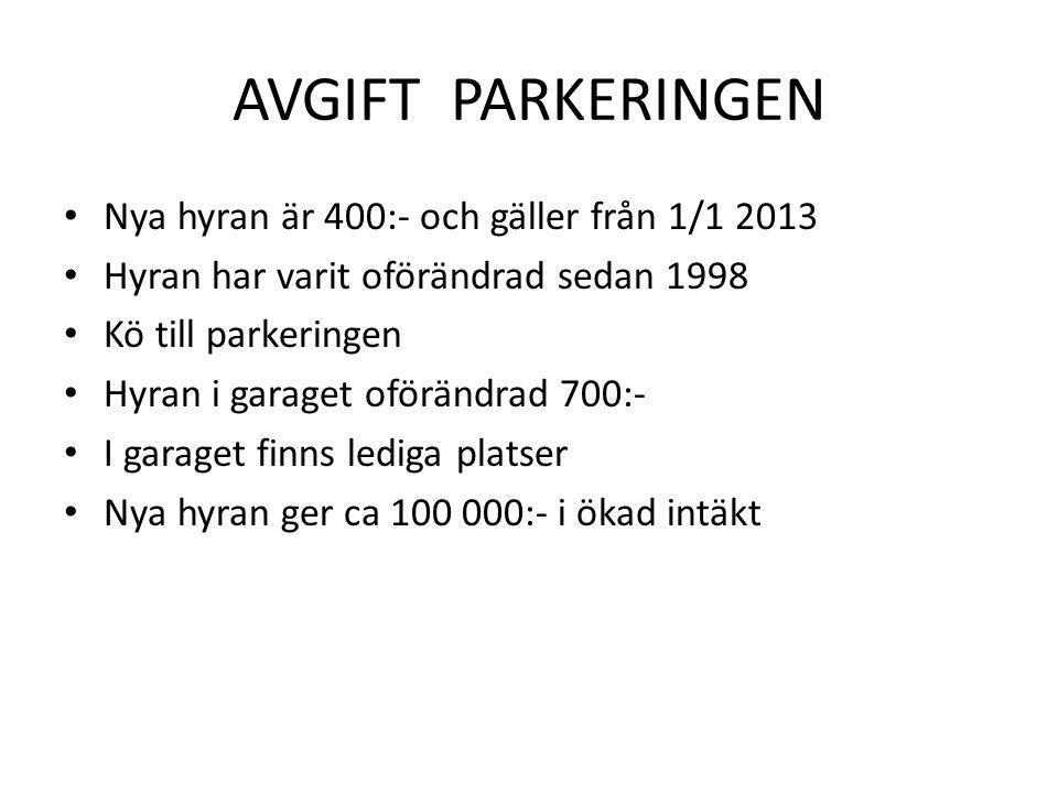 AVGIFT PARKERINGEN Nya hyran är 400:- och gäller från 1/1 2013