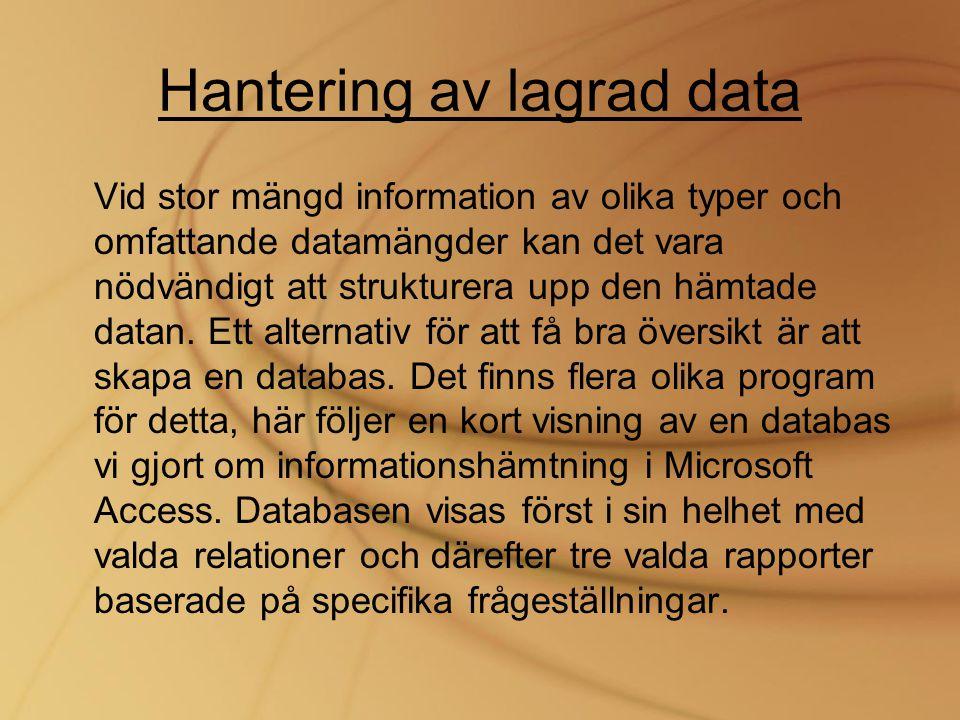 Hantering av lagrad data