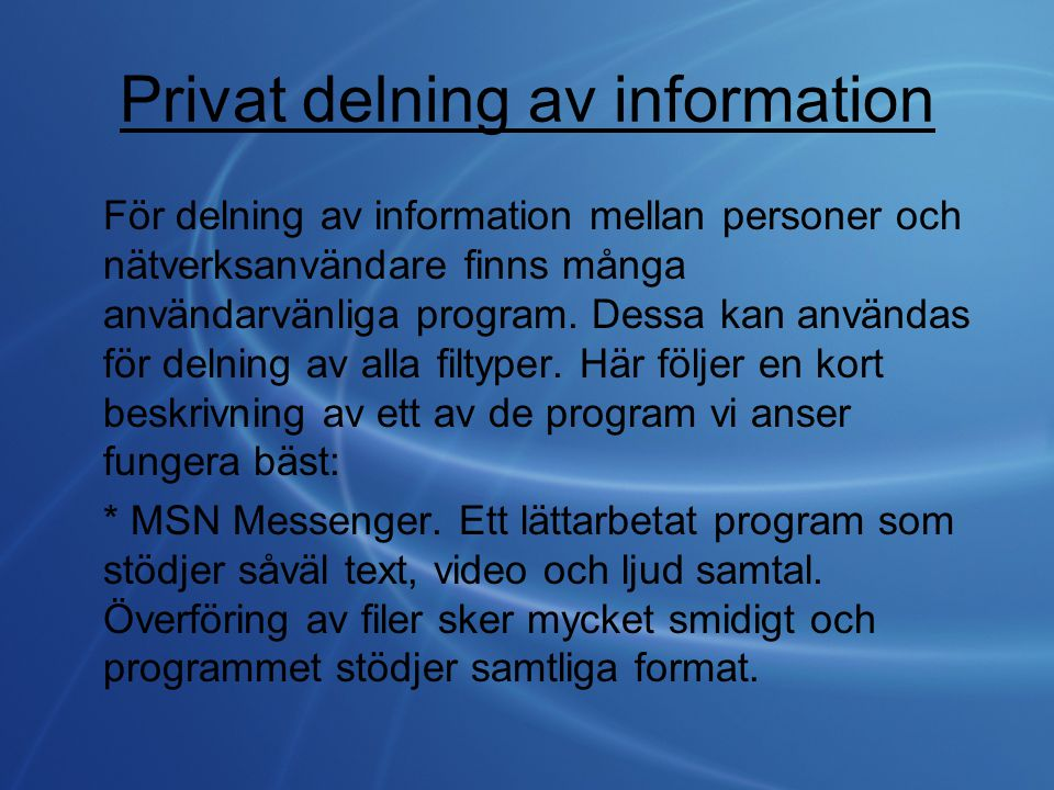Privat delning av information