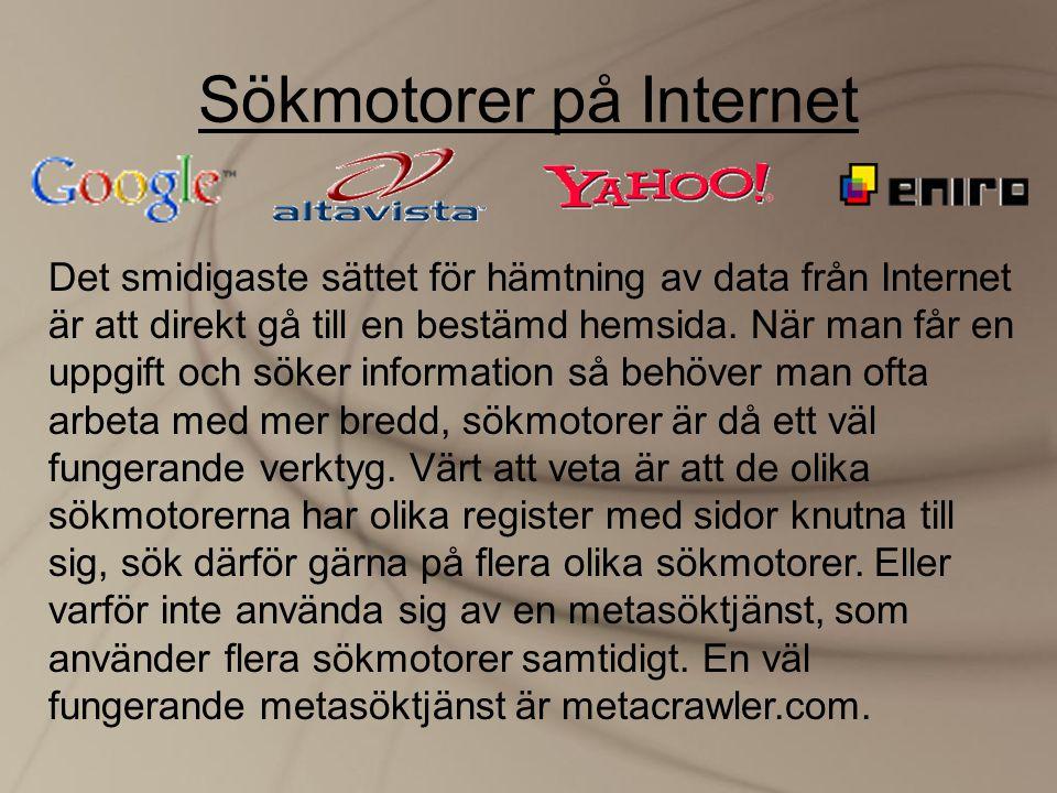 Sökmotorer på Internet