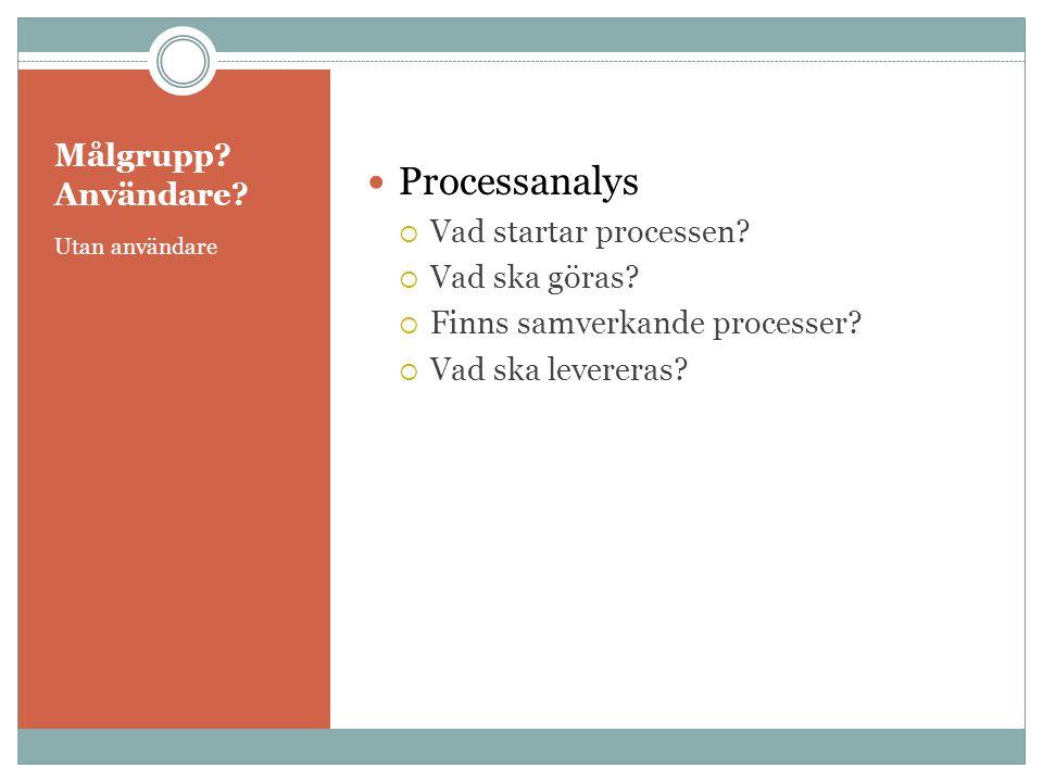 Processanalys Målgrupp Användare Vad startar processen