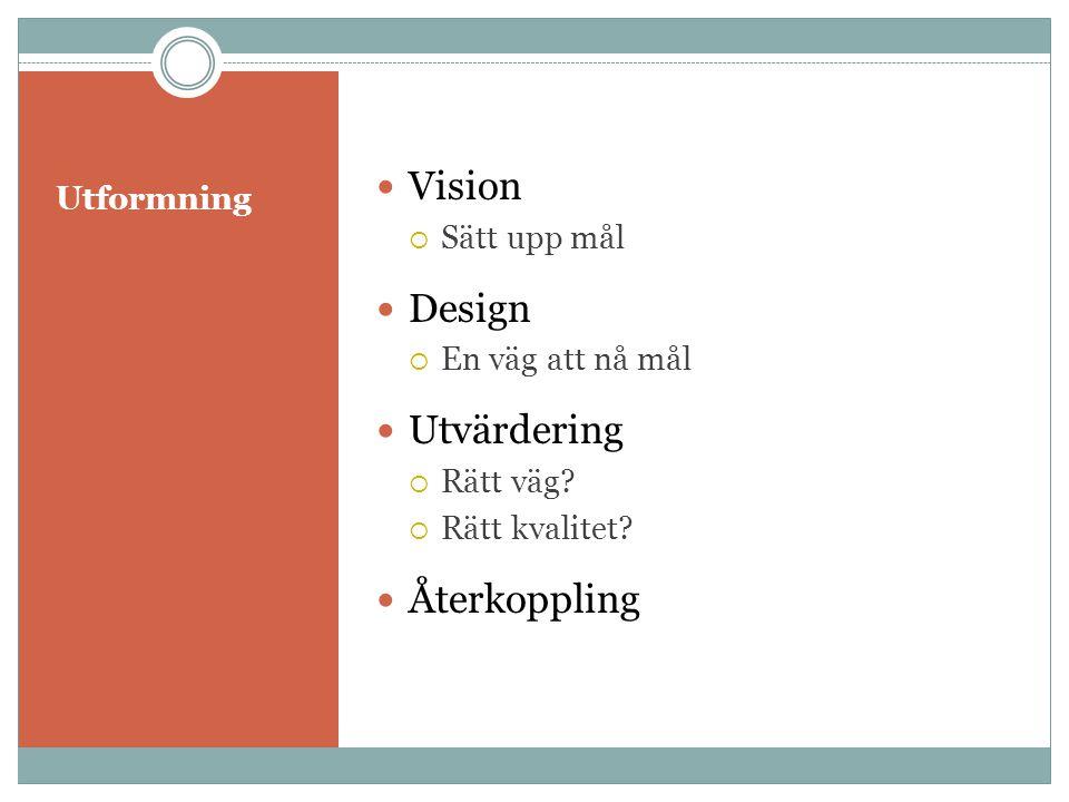 Vision Design Utvärdering Återkoppling Utformning Sätt upp mål