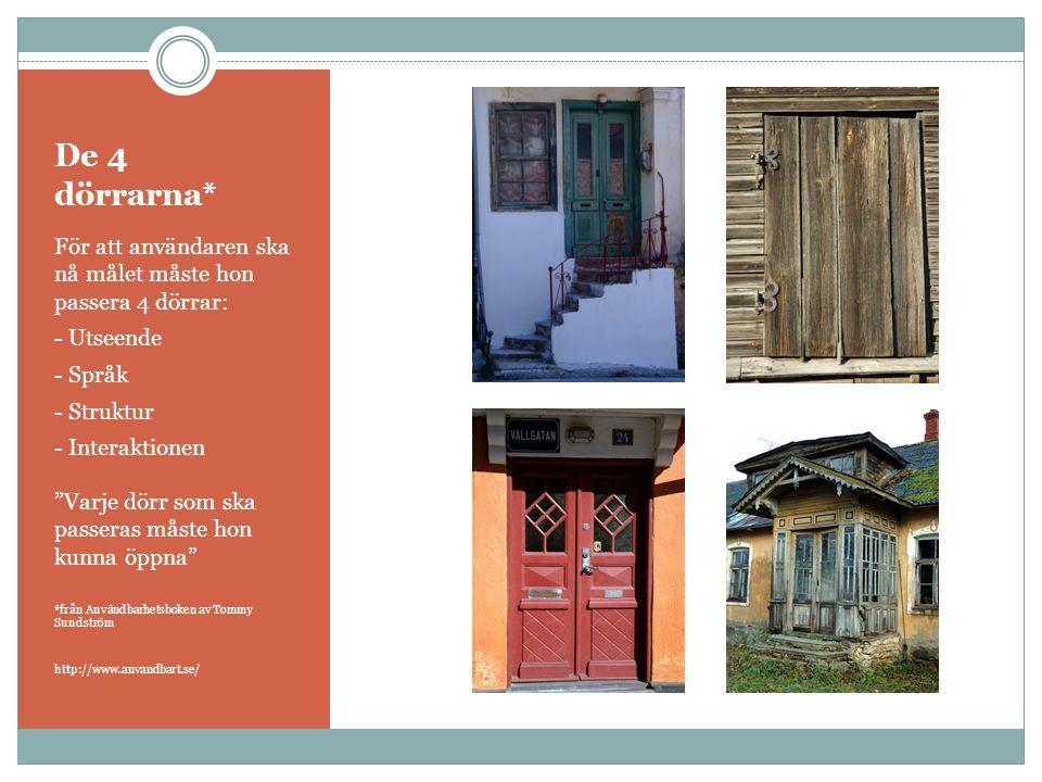 De 4 dörrarna* För att användaren ska nå målet måste hon passera 4 dörrar: - Utseende. - Språk.