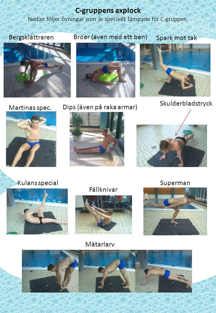 Nedan följer övningar som är speciellt lämpade för C-gruppen.