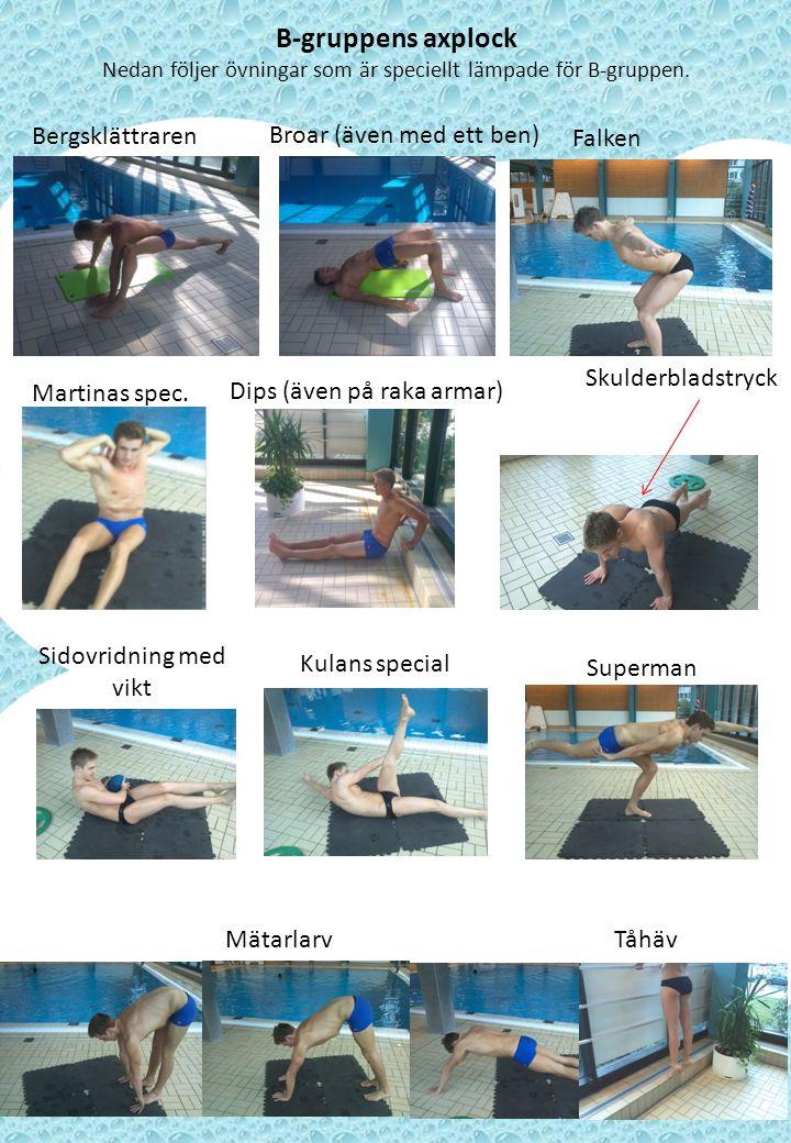 Nedan följer övningar som är speciellt lämpade för B-gruppen.