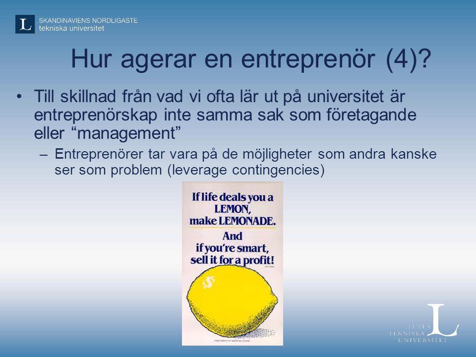 Hur agerar en entreprenör (4)
