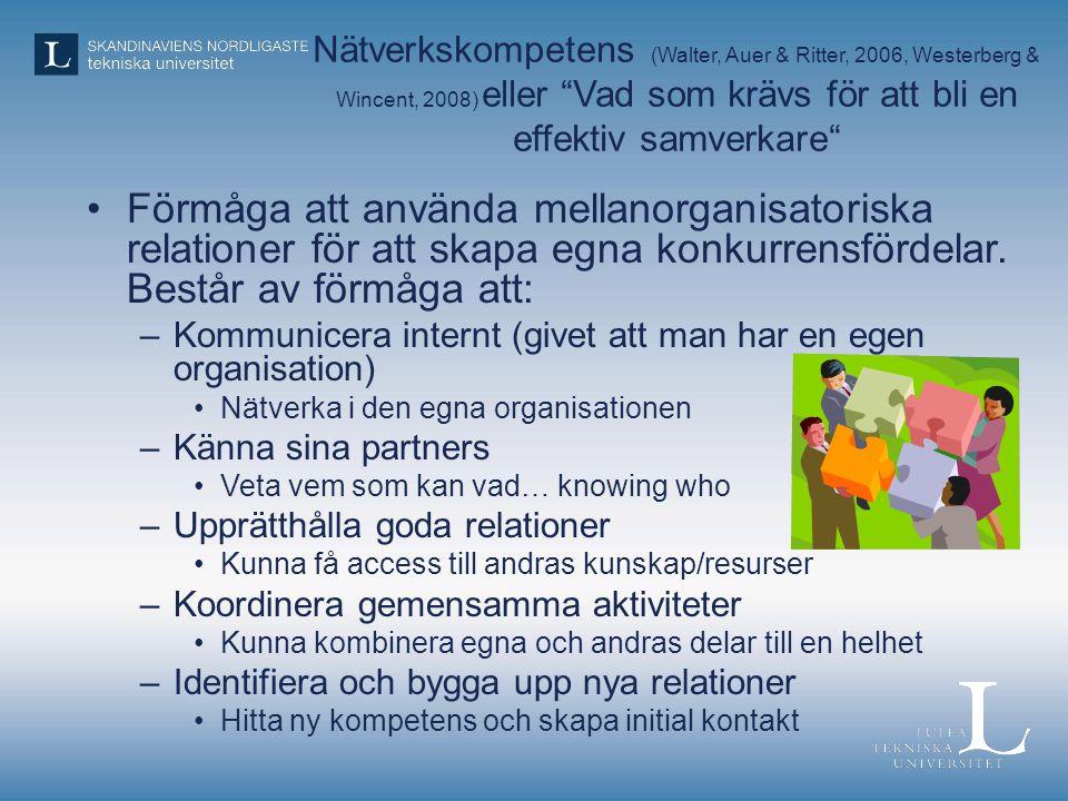 Nätverkskompetens (Walter, Auer & Ritter, 2006, Westerberg & Wincent, 2008) eller Vad som krävs för att bli en effektiv samverkare