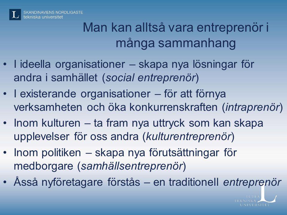Man kan alltså vara entreprenör i många sammanhang