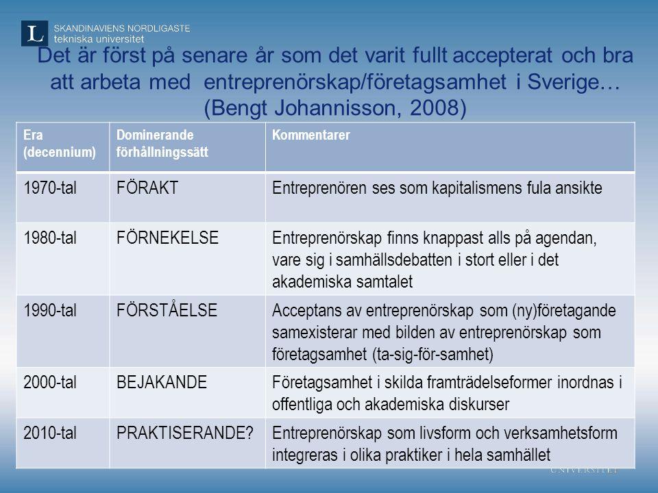 Det är först på senare år som det varit fullt accepterat och bra att arbeta med entreprenörskap/företagsamhet i Sverige… (Bengt Johannisson, 2008)