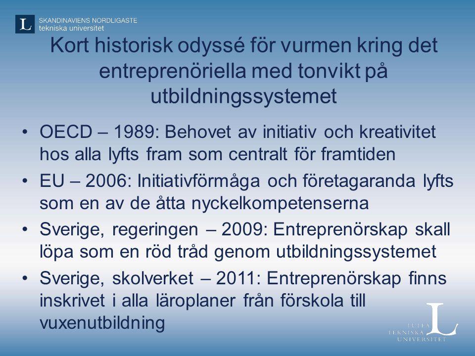 Kort historisk odyssé för vurmen kring det entreprenöriella med tonvikt på utbildningssystemet